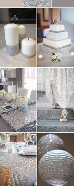silver wedding decorations, silver grey wedding ideas with sequins and glitters Silver Wedding Decorations, Wedding Themes, Wedding Centerpieces, Wedding Colors, Our Wedding, Dream Wedding, Summer Wedding, Wedding Cakes, Budget Wedding