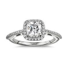 Cushion Cut Halo Diamond Engagement Ring in 18K White Gold