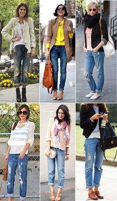 Love the juxtaposition of boyfriend jeans, tattered and rolled just above the ankles with sexy heels and a dressy top (sequins) - comfy and sexy!