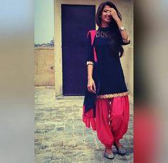 Black and red punjabi dress Punjabi Fashion, Bollywood Fashion, Indian Fashion, Indian Look, Indian Ethnic Wear, Patiala Salwar, Anarkali, Patiala Dress, Lehenga Blouse