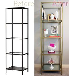 """Ikea Vittsjo Shelving Unit – spray painted gold    3 Cans Rust-Oleum Metallic Spray Paint in """"Pure Gold."""" 1 Piece of Glass. The Ikea Vittsjo comes with three glass shelves, you just need to buy one more  1 Piece of Mirror (purchased and cut at your local glass shop)"""