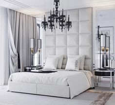 Pure white and black Bedroom with white tufted bed and black crystal chandaleer. Elegant white bedroom for s luxury lifestyle. Stylish Bedroom, Cozy Bedroom, Home Decor Bedroom, White Bedroom, Bedroom Ideas, Bedroom Green, Bedroom Goals, Kids Bedroom, Bedroom Wardrobe