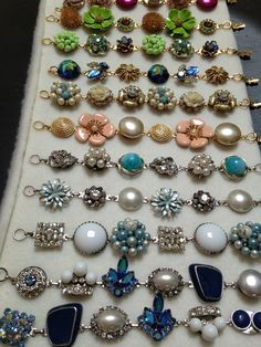 Bracelets made from vintage earrings!