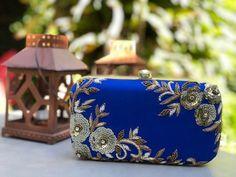 Clutch, Hand Embroidered, Sequins, Beaded, Cobalt Blue Clutch, Formal Wear, Wedding Accessory, Handbag, Cocktail Wear, Ramadan gift for her Ramadan Gifts, Blue Clutch, Cocktail Wear, Gold Beads, Formal Wear, Cobalt Blue, Antique Gold, Wedding Accessories, Gifts For Her