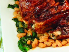 BBQ Pork Ribs with Spinach Bean Salad - from the cookbook Hip Pressure Cooking: Fast, Fresh & Flavorful
