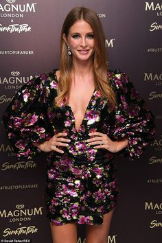 Millie Mackintosh turned up the heat in a floral sequin dress as she attended the Magnum Pleasure store launch in London on Wednesday. Millie Mackintosh, Leg Thigh, Sequin Dress, Fisher, Product Launch, David, Sequins, Legs, Floral