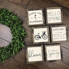 The spring collection hello spring sign fresh cut flowers sign bloom sign bicycle sign welcome spring spring decor flower bask silly rabbit easter holiday sign home decor rustic farmhouse Welcome Spring, Spring Sign, Cut Flowers, Spring Flowers, Paint Background, Hello Spring, Diy Signs, Spring Crafts, Spring Projects