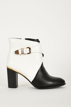 Monochrome Heeled Ankle Boots With Gold Trim