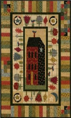 Primitive Folk Art Quilt Pattern - House On A Hill by Jan Patek - Wall hanging 40 x Primitive Quilts, Primitive Folk Art, Primitive Stitchery, Small Quilts, Mini Quilts, Quilting Projects, Quilting Designs, Quilt Design, Kitsch