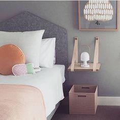 Bed head & Shelf loves | H & G Designs leather strap shelf now at www.littlemelittleyou.com.au