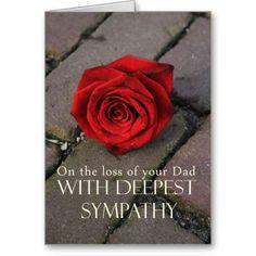 Dad loss Sympathy rose card