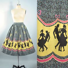 Vintage 50s NOVELTY Print Skirt / 1950s Border by GeronimoVintage