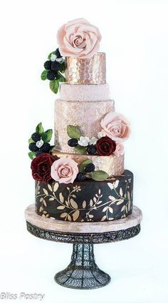 Chic gold black wedding cake ideafrom  Bliss Pastry