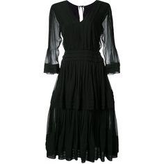 Carolina Herrera flared dress (170.890 RUB) ❤ liked on Polyvore featuring dresses, black, flared dresses, flared skirt, v neck dress, v neck flare dress and skater skirt
