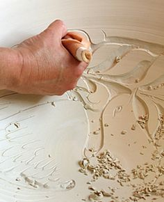miranda thomas sgraffito carving process technique photo pottery ceramics clay