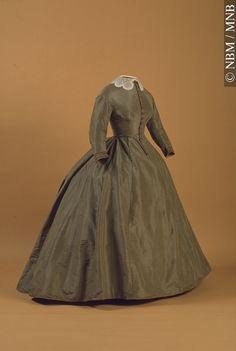 Dress, machine-sewn silk, ca. 1865.