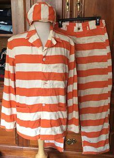 Vintage Orange White Striped Prison Uniform Mens Prisoner Jail Convict Costume