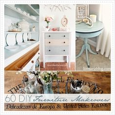 60 DIYFurniture Makeovers With Tutorials For Each ! There is a Tutorial For Every Technique Used in Making over Thrift or Upcycling Furniture !!