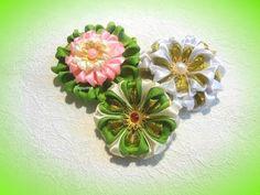 """Необычные, красивые цветы из лент, канзаши, лепесток """"ушки"""", МК, - YouTube"""