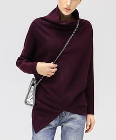 Loving this Wine Turtleneck Sweater on #zulily! #zulilyfinds