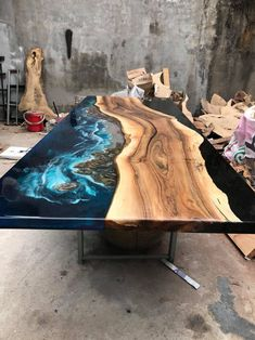 GIANT Coffee table Epoxy table river table ocean table handmade beautiful table / dining table – Wood table design – New Epoxy Mesa Metal, Epoxy Wood Table, Wood Table Design, Table Cafe, Resin Furniture, Home And Deco, Resin Art, Resin Crafts, Home Furnishings