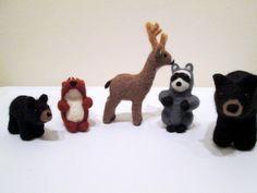 Felted Woodland Set  Needle Felted Animals  by ThePineappleCatz, $100.00