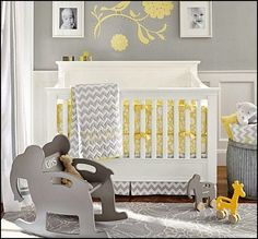 yellow and gray nursery decor ideas | ... bedrooms - nursery decorating ideas - girls nursery - boys nursery