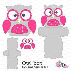 Owl modèle papier Baby Box douche Animaux oiseaux parti (svg, fichier de coupe dxf) Die coupe Cricut Cut Silhouette Cameo EasyCutPrintPD