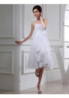 By Carolyn Carr A-line Strapless Sleeveless Tea-length Organza Wedding Dress #BUKZA1029 - See more at: http://www.anniedress.com/wedding-dresses.html?p=4#sthash.QYn6ZFID.dpuf