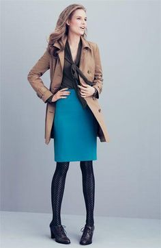 teal pencil skirt, black herringbone tights
