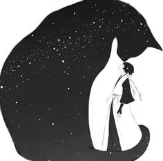 Illustration by Soi Fon. Art And Illustration, Cat Illustrations, Cat Drawing, Bleach Drawing, Crazy Cats, Cat Art, Silhouettes, Art Photography, Anime Art