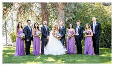 Bride and Groom portrait at 50th Parallel Winery in Kelowna BC | Kelowna Photographer by Lori Brown Photography purple wedding party