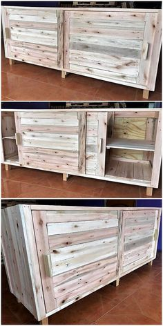 Reused pallets wooden TV stand with sliding gates is great idea to be crafted at your place. Your lounge needs some dandy and up-to date furniture; so craft this pallet TV stand. This is magnificent craft to be admired. Wood Pallet Furniture, Diy Furniture, Kitchen Furniture, Furniture Showroom, Pallet House, Pallet Tv, Diy Pallet, Pallet Crafts, Vertical Pallet Garden