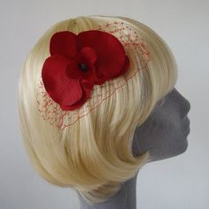 Red Flower Haircomb Red Orchid with Veiling by ImogensImagination, £7.50