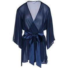 Dear Bowie Dressing Gown ($207) ❤ liked on Polyvore featuring intimates, robes, robe, dark blue, silk bath robes, silk robe, dressing gown, sheer robe and silk dressing gown