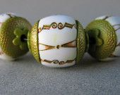 Polymer Clay Beads Set of 3 Faux Porcelain with Metallic Green and Gold Design