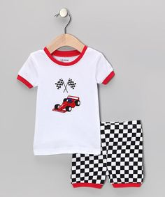 Take a look at this Red & Black Race Car Pajama Set - Infant, Toddler & Kids by Leveret on #zulily today!