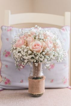 Bouquet Flowers Bride Bridal Rose Gyp Gypsophila Baby Breath Hessian Burlap Fresh Pink Barn Wedding http://www.charlotteleysphotography.co.uk/