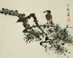 (North Korea) A Bird on the Pine by Kim Sang-jik.