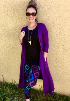 LuLaRoe Julia paired with LuLaRoe leggings and a LuLaRoe purple Sarah! Shop my store LuLaRoe with Lauren Hayes on Facebook!