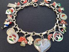 Vintage Charm Bracelet Collection - Lucky Mushrooms Silver & Enamel Charm Bracelet