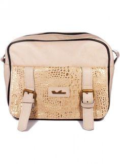Cartera tipo bandolera de cuero blanca con detalles en dorado  Leather handbag - White and gold