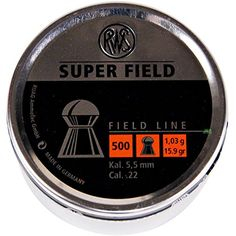SURVIVAL TIN of 250 qty of 22-5.52mm RWS SUPERFIELD DOMED  AIR RIFLE PELLETS