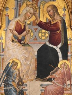 By Giovanni di Tano Fei (Florentine, active 1384-1405), 1394, The Coronation of the Virgin, tempera on wood, gold ground. (Gothic altarpiece was painted for Brunelleschi's chapel in the church of San Leo) (detail)