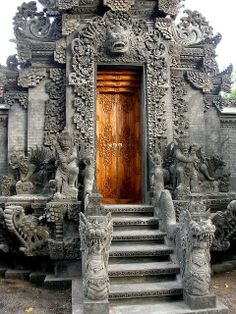 "Hindu Temple, Bali, Indonesia - Doors - Ottoman Door - Antique Door - Moroccan Door - Tunusian Door ""And when We said: Go into this township and eat freely of that which is therein, and enter the gate prostrate, and say: ""Repentance."" We will forgive you your sins and will increase (reward) for the right-doers."" Surah Bakara, 58"