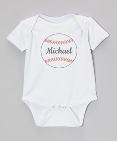 Loving this White & Red Personalized Baseball Bodysuit - Infant on #zulily! #zulilyfinds