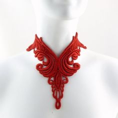 Plunging Red Bib Lace Choker Necklace in Victorian Style - Elaborate Dramatic Large Jewelry Statement Piece
