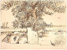 Vincent van Gogh: Landscape with a Tree in the Foreground Arles: July, 1888 (Richmond, Virginia Museum of Fine Arts) Artist Van Gogh, Van Gogh Art, Art Van, Van Gogh Drawings, Van Gogh Paintings, Pencil Drawings, Vincent Van Gogh, Van Gogh Landscapes, Van Gogh Museum