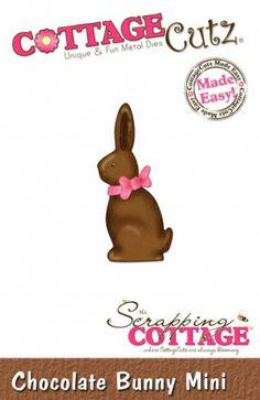 """CottageCutz Chocolate Bunny Shape (Mini) metall dies. De er enkle å bruke og du får flotte detaljer til dine prosjekter. This die is approximately 1.75"""" x 1.75"""". art. nr SC-CC-MINI-047 Adaptere/mellomlegg kan være nødvendig på noen maskiner.  Dette produktet finner duunder: Verktøy - Cuttlehug Shimsplate. Er kompatibel med følgende maskiner: QuicKutz Revolution, Sizzix / Ellison Big Shot, BigKick, Cuttlebug, Spellbinder ..."""