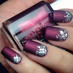 Beautiful nail designs for this fall - Best Nail Art Fancy Nails, Trendy Nails, Matte Nails, Glitter Nails, Silver Glitter, Stiletto Nails, Acrylic Nails, Hair And Nails, My Nails
